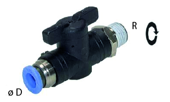 Ball valve external thread plug-in connection