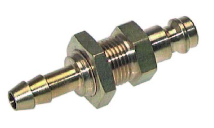 Plug-in nipple NW 5 with bulkhead transit and hose barb Brass