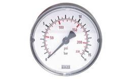 Manometer horizontaal Ø 40, 50, 63 mm(standaardschroefdraad), klasse 2.5